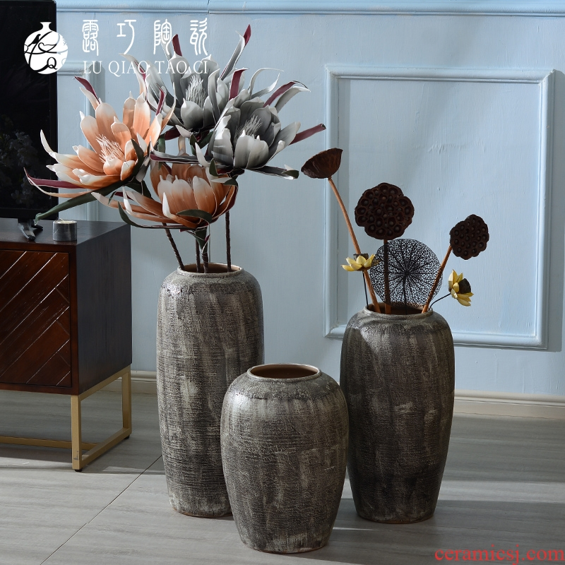 Put dried flowers sitting room art pottery vase furnishing articles creative retro literary move ground decorative ceramic bottle