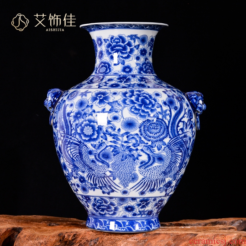 Jingdezhen ceramics flower arranging ears antique vase of blue and white porcelain Chinese TV sitting room ark, porch decorate furnishing articles