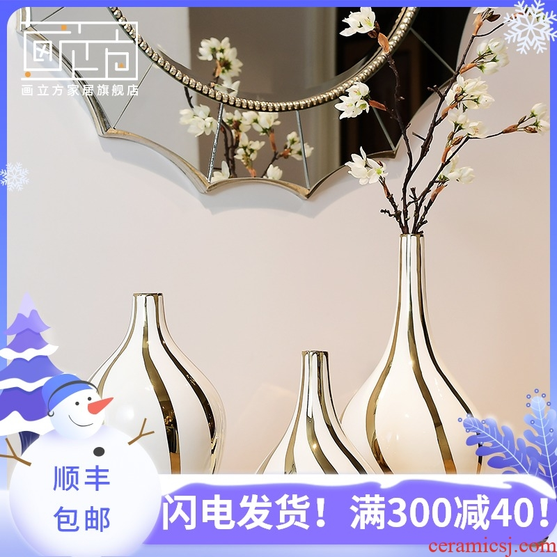 Ceramic cubic Nordic modern creative gold - plated plug-in vase furnishing articles sitting room TV cabinet dry flower vase decoration