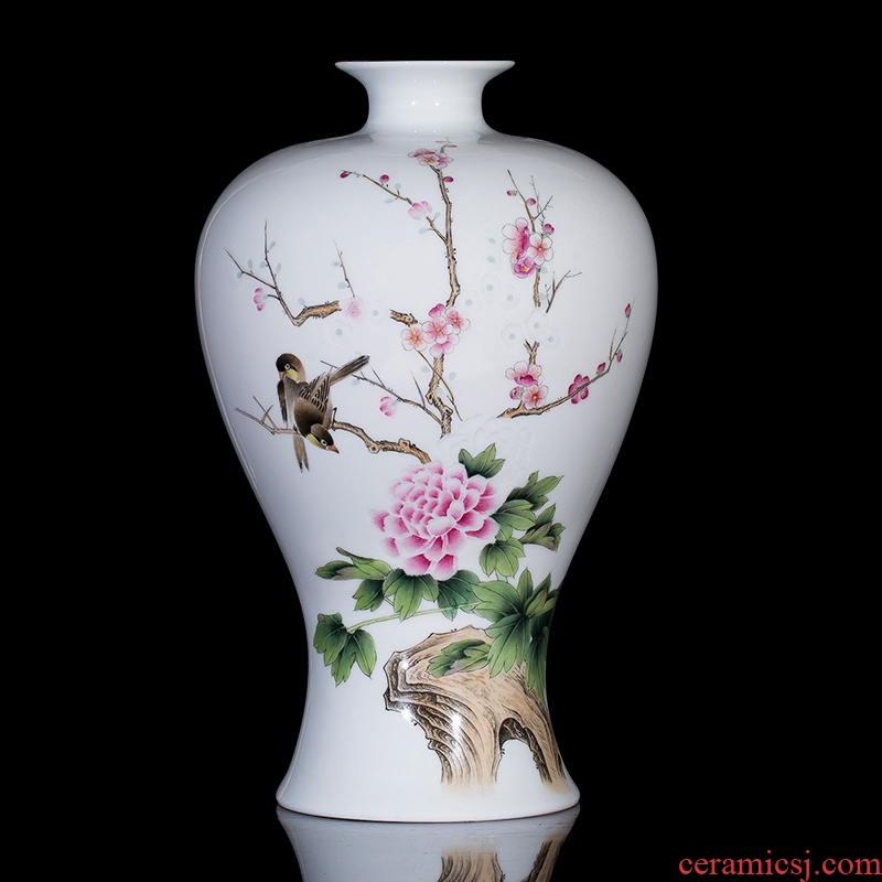 Jingdezhen ceramics master hand carved flowers and birds porcelain vase exquisite modern Chinese wine sitting room adornment