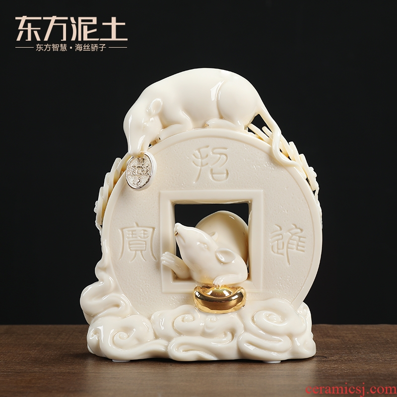 Oriental clay ceramic gold rat furnishing articles 2020 year of the rat rat mascot high - end craft gifts/a thriving business