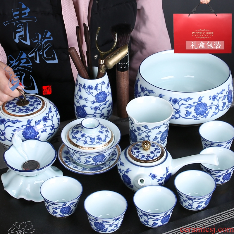 Jingdezhen blue and white porcelain kung fu tea set suit household contracted office tureen of pottery and porcelain cups teapot set