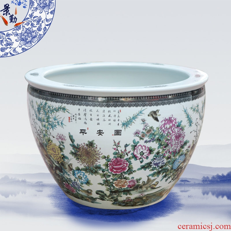 Jingdezhen ceramics basin of water lily lotus tank to raise a goldfish bowl bowl lotus cylinder tortoise GangPen furnishing articles