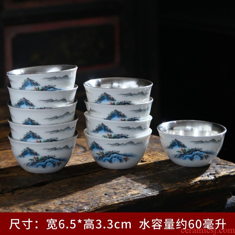 Dehua white porcelain teacup only 6 suet jade pu - erh tea cup move small ceramic kung fu master single cup tea cups