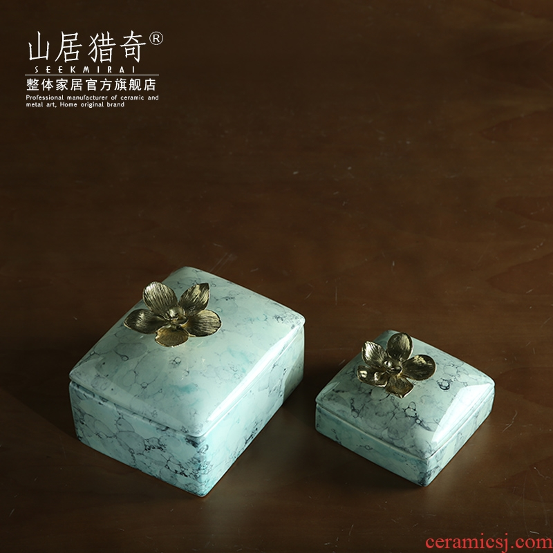 Nordic household ceramics decorated copper flower jewelry box would receive box example room dresser furnishing articles