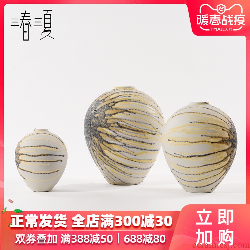 Postmodern contracted checking ceramic creative hand - made belly vases, new Chinese style living room table bookcase furnishing articles