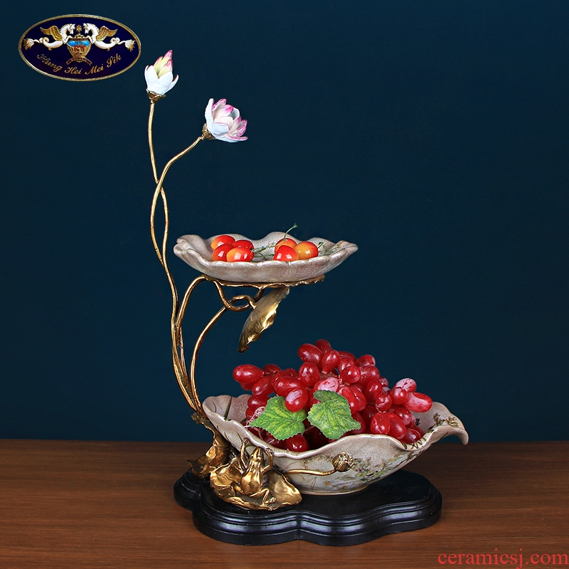 Chinese fruit bowl sitting room double lotus ceramics with copper Europe type tea table decoration home decoration key-2 luxury furnishing articles