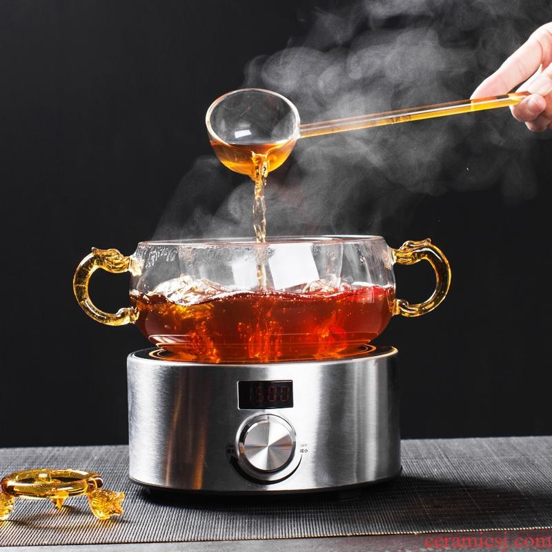 NiuRen heat of a complete set of thickening glass boiled tea, black tea pu - erh tea points home the tea, the electric TaoLu tea set