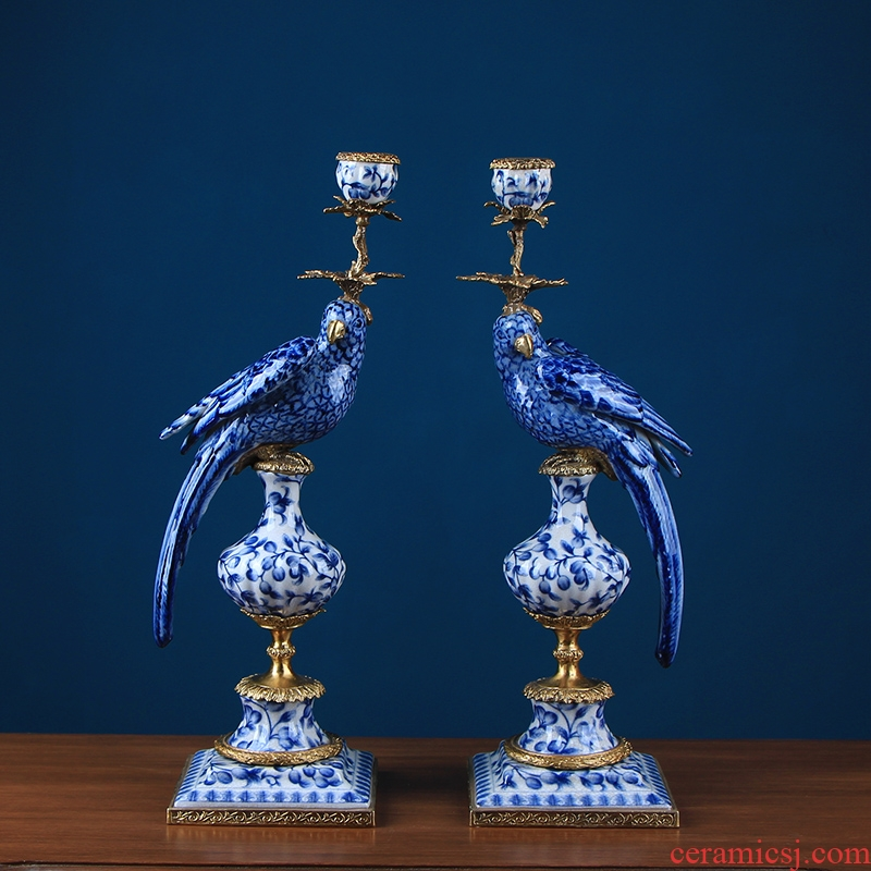 European green parrot single - head candlestick a pair of copper deserves living room fireplace home decoration decoration ceramics handicraft