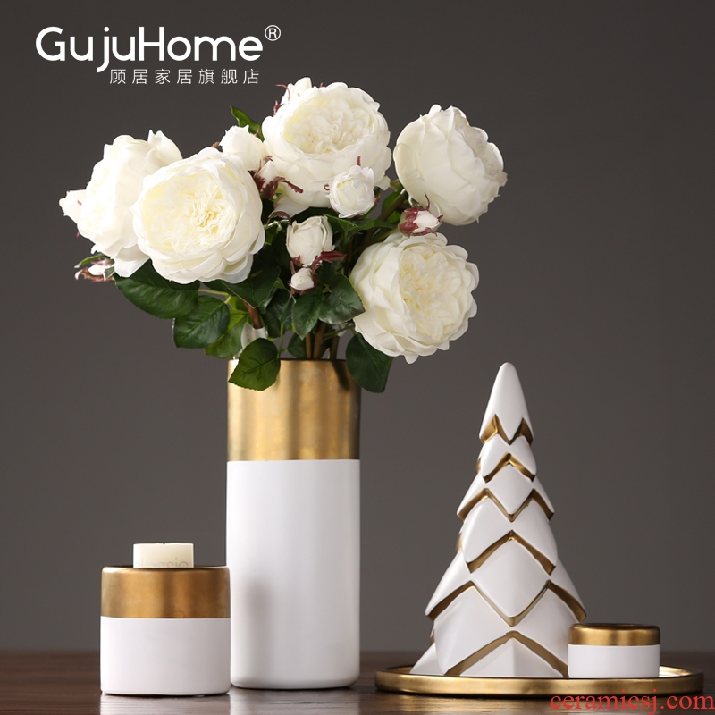 I and contracted ceramic flower implement candlestick furnishing articles suit creative household decorations show soft outfit decoration accessories