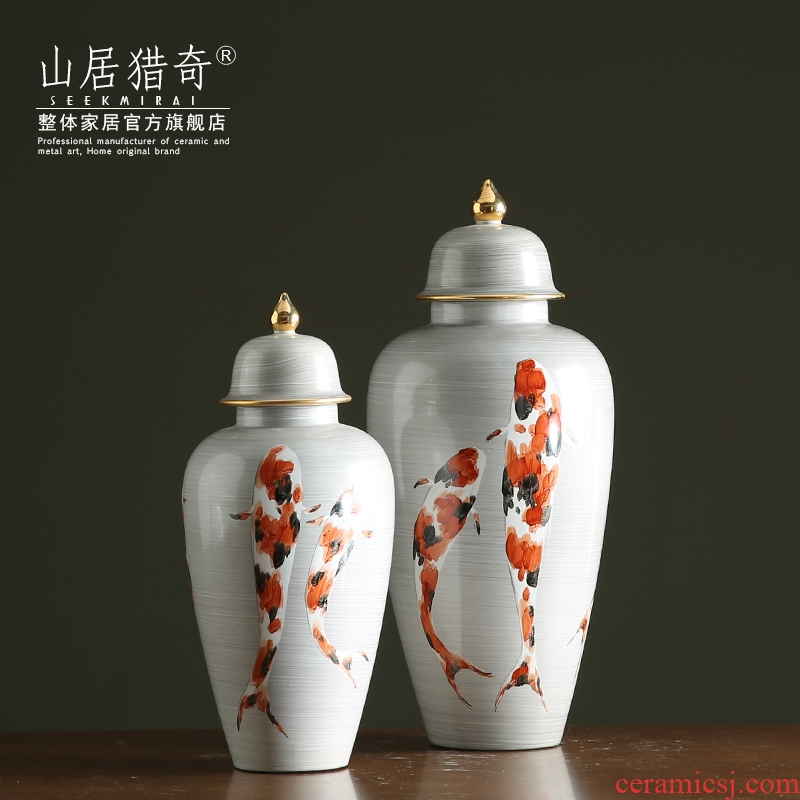 New Chinese style general hand - made ceramics carp large tank sitting room porch home decoration furnishing articles furnishing articles vase