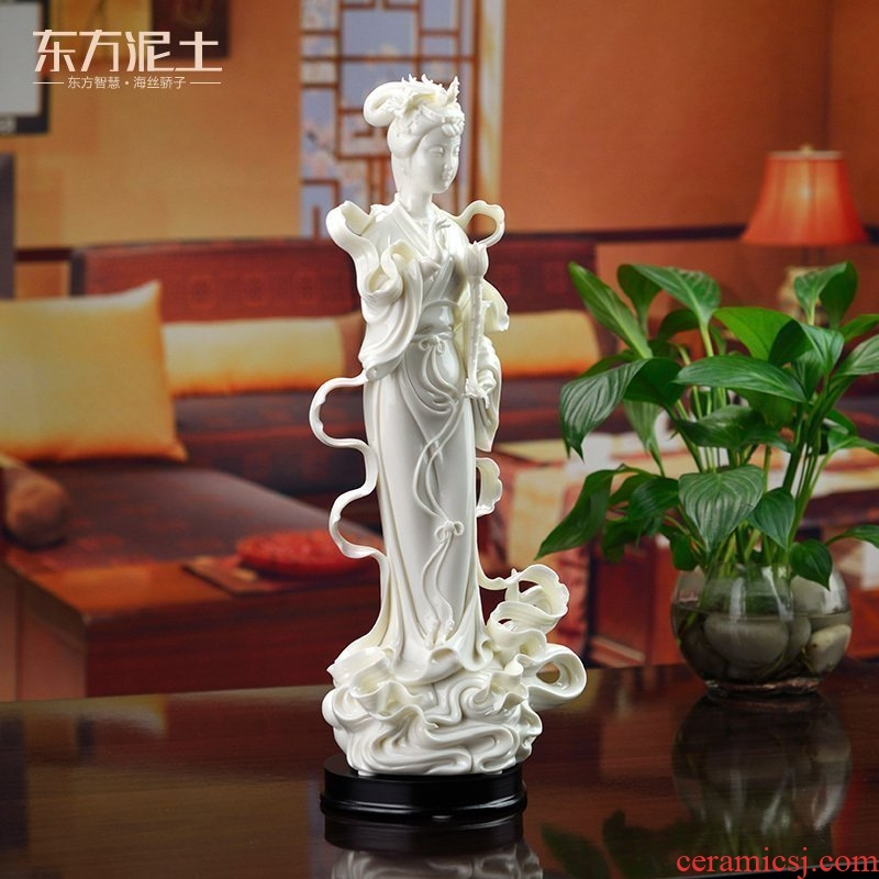 The east mud dehua white porcelain white marble its craft porcelain art collection/lotus fairy D01-048