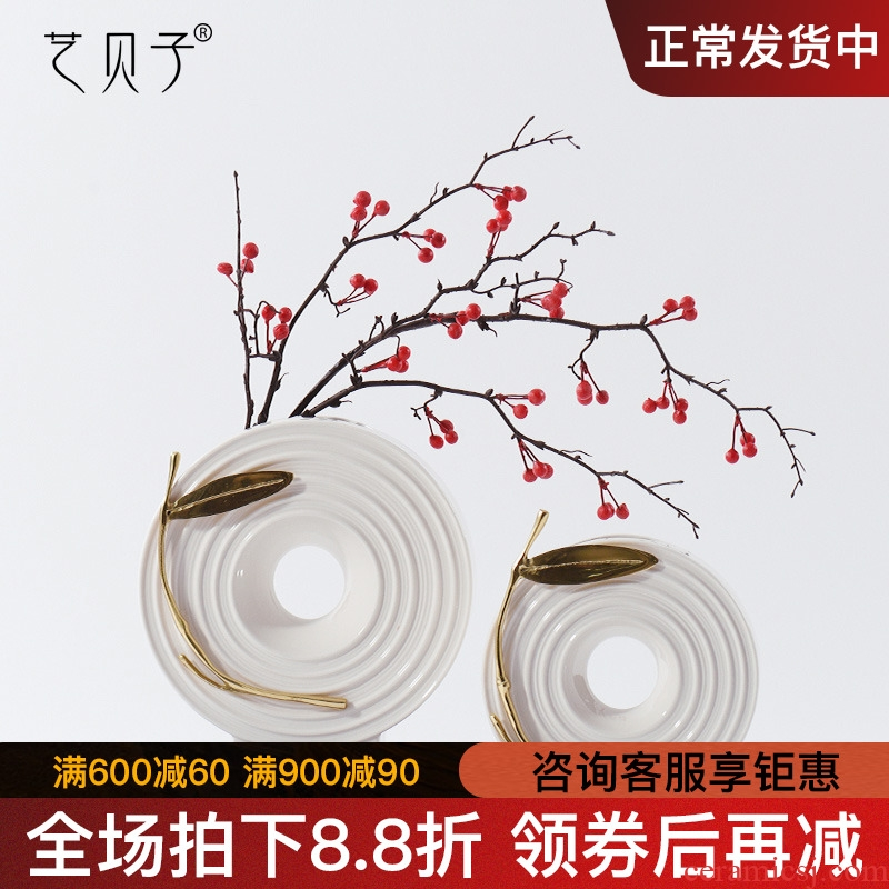 New Chinese style show originality furnishing articles living room table dry flower arranging flowers, ceramic vase decoration decoration copper leaves