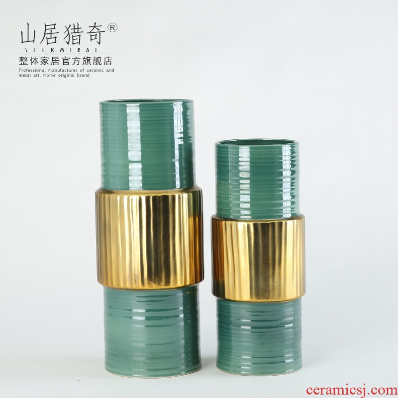 American neo - classical straight green ceramic vases, Chinese style living room table decoration flower arranging flowers, gold ring bottle