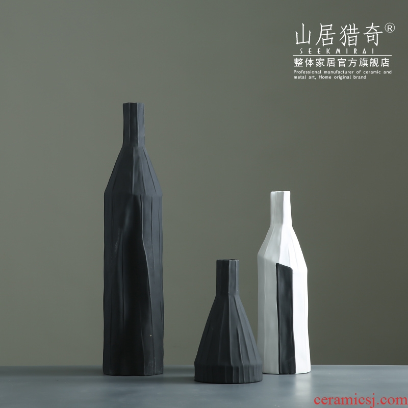 Nordic, black and white ceramic creative geometric vase household soft outfit floral living room table dry flower adornment furnishing articles