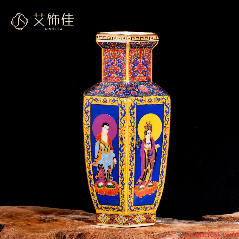 Jingdezhen ceramic vase furnishing articles colored enamel flower arranging Chinese archaize sitting room adornment home furnishing articles TV ark