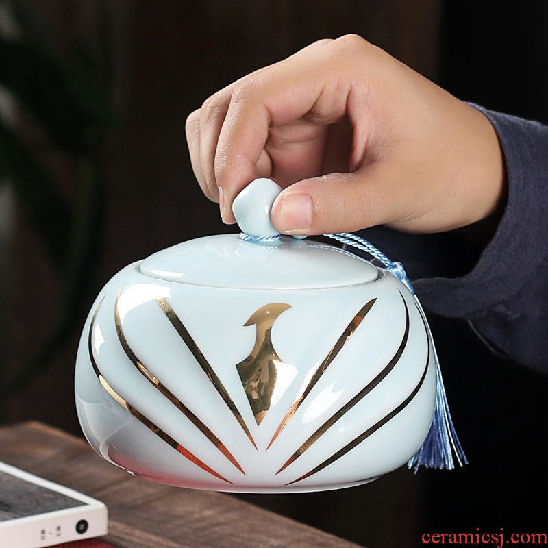 The palace wen gen celadon caddy fixings ceramic large seal pot household receives furnishing articles puer tea packaging customization