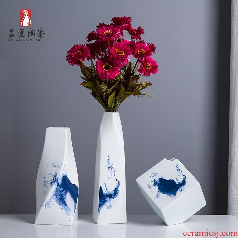 Jingdezhen small expressions using vases, flower arranging flower implement dried flower flower vases furnishing articles floret bottle wine cabinet office computer desk