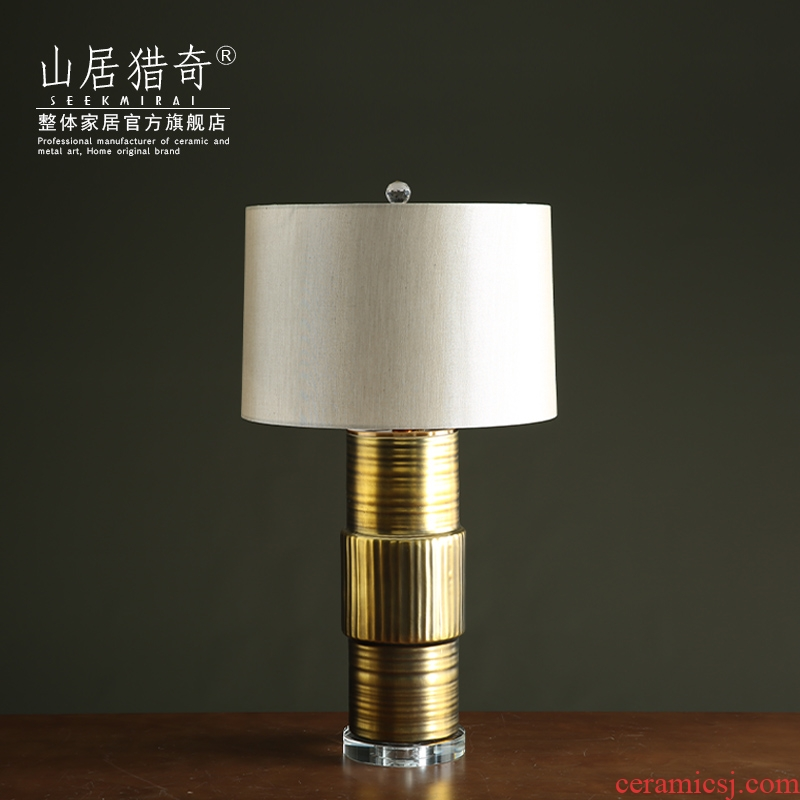 Gold retro storage tank ceramic desk lamp is placed between study example household soft adornment of I sitting room