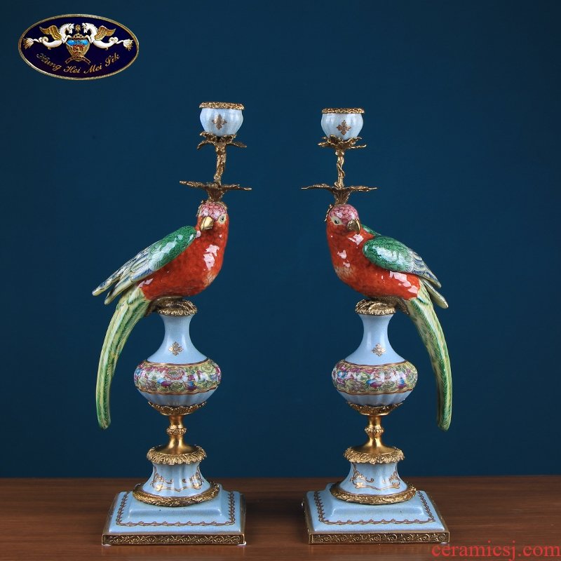 European creative parrot candlestick single - head ceramic decoration American home decoration based holders sitting room porch place