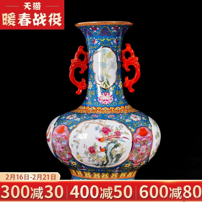 Jingdezhen ceramic colored enamel archaize ears vases, flower arrangement of the sitting room porch decorate restoring ancient ways of Chinese style household furnishing articles