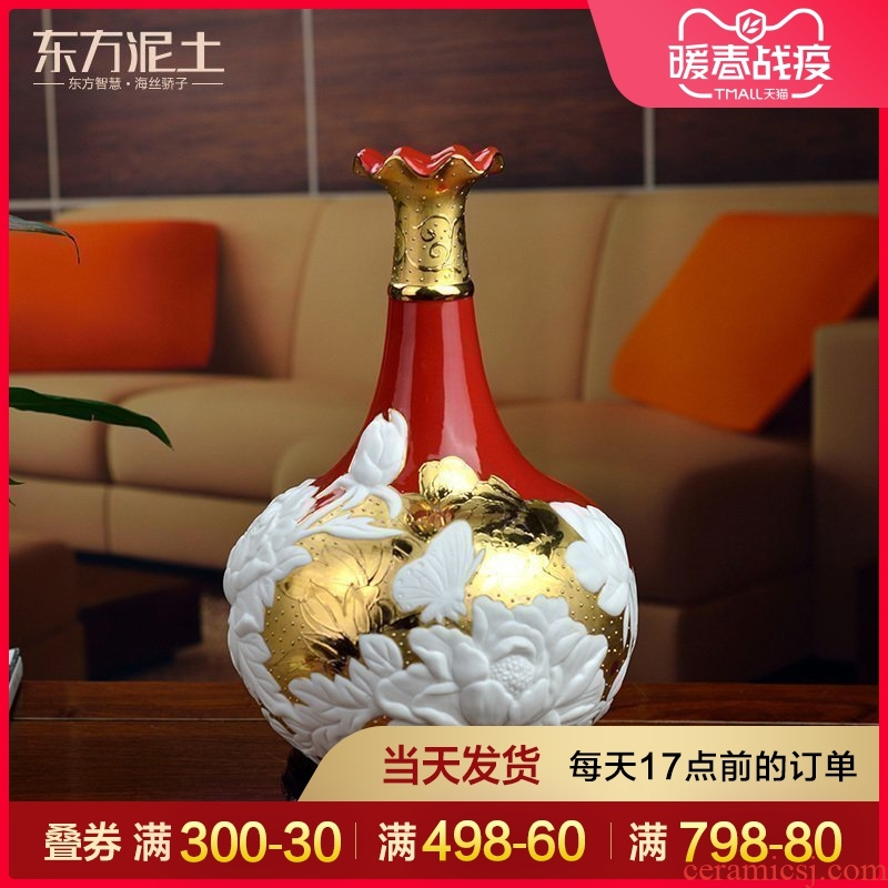The east mud dehua ceramic vase peony new Chinese style living room partition rich ancient frame furnishing articles gold - plated handicrafts