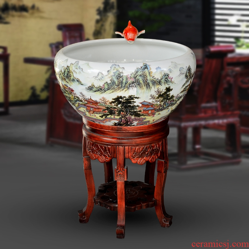 Jingdezhen ceramic VAT be born lucky feng shui and extra large fish bowl lotus home landscape tortoise furnishing articles