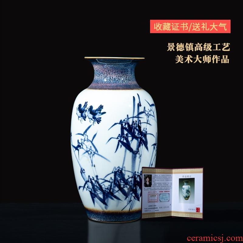 Jingdezhen ceramics famous master hu, hand - made porcelain lotus vase furnishing articles sitting room home decoration