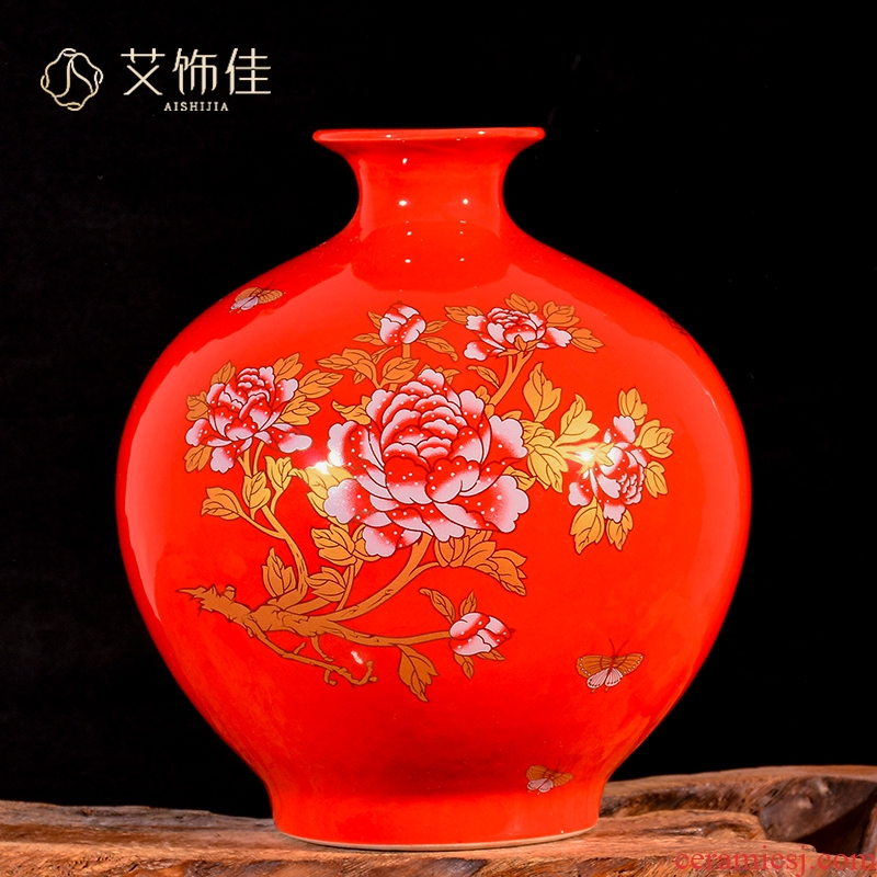Jingdezhen ceramic Chinese red peony festival wedding flower arranging new Chinese style living room porch place decorative vase