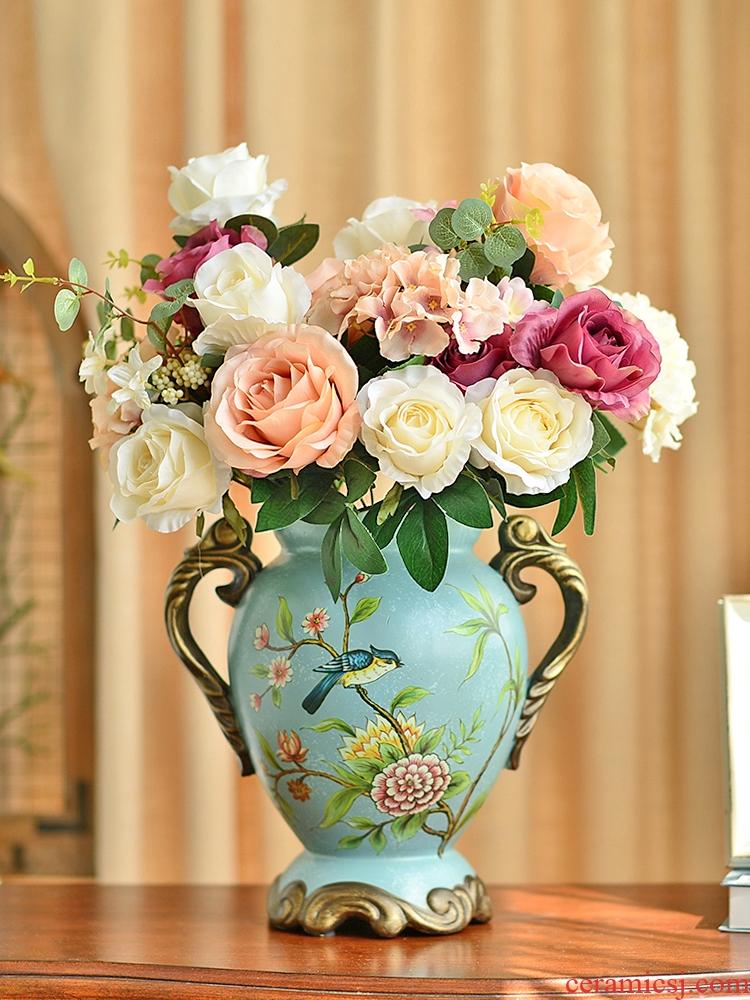 American TV ark, big ceramic vase ou the sitting room porch place table simulation flower art flower arranging dried flower decoration