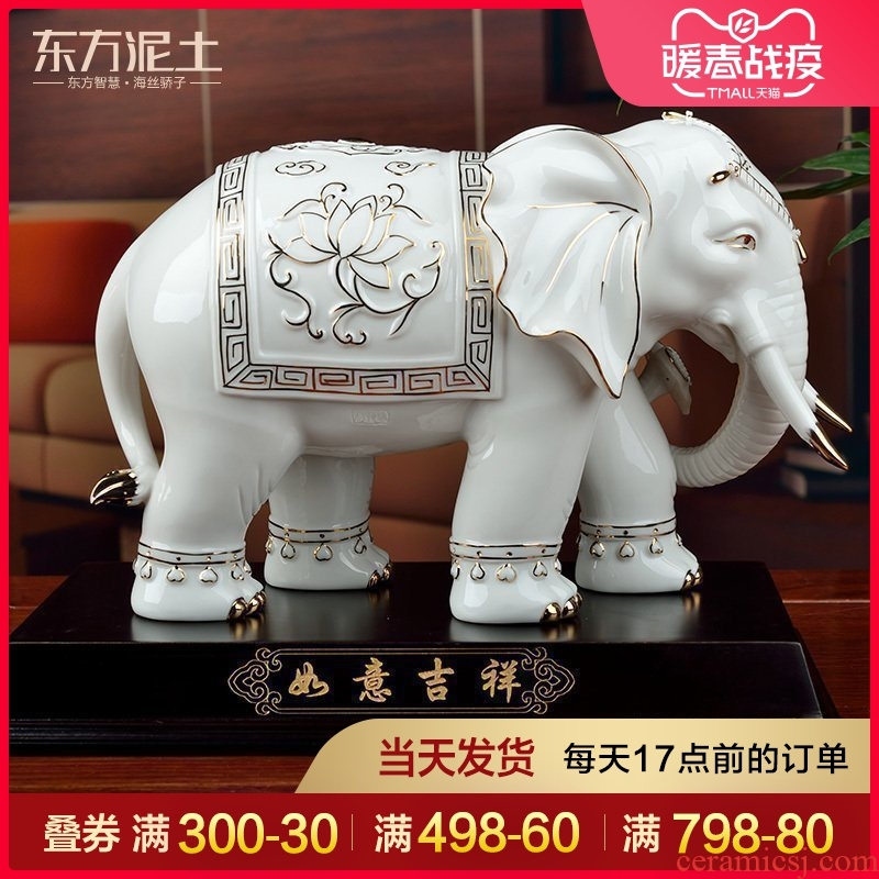 The east mud lucky elephant furnishing articles home sitting room decoration ceramics handicraft high - grade version into gifts