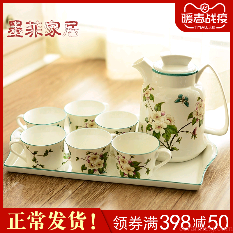 New Chinese style ceramic tea set suit American sitting room dining - room household cool afternoon tea coffee kettle tea table furnishing articles
