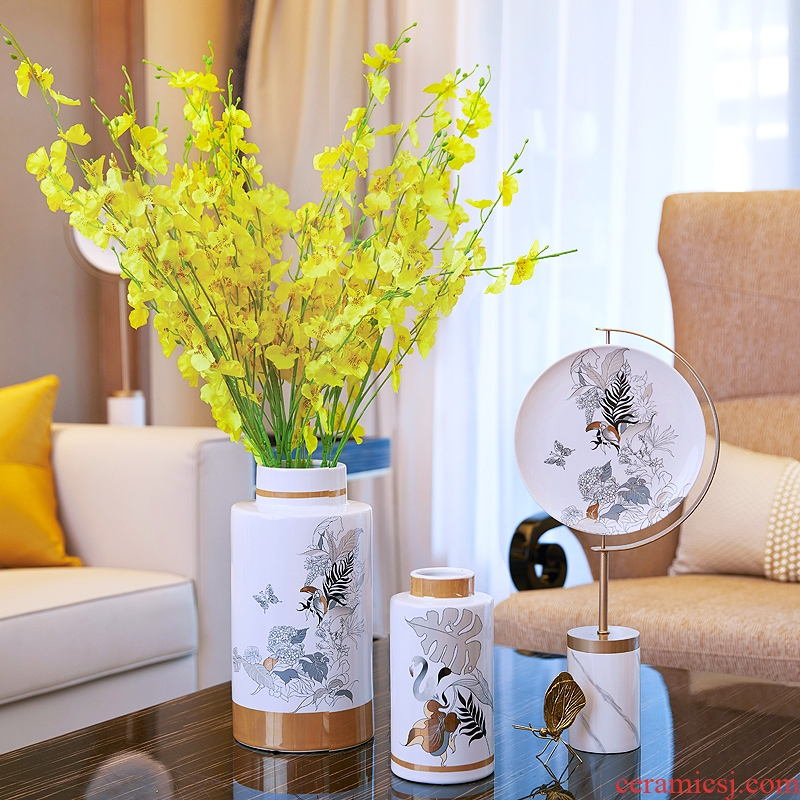 European white ceramic simulation flower vase furnishing articles sitting room of new Chinese style household soft adornment creative dried flower arranging flowers