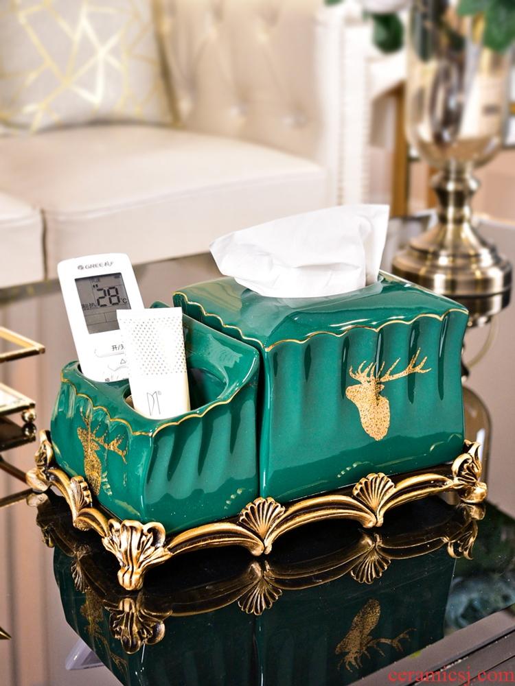 Light European - style key-2 luxury multi - function tissue box furnishing articles wind American household ceramics smoke box remote control boxes sitting room