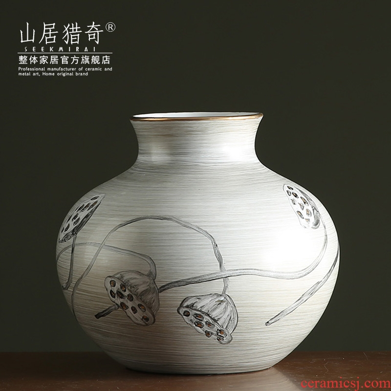 Creative hand - made lotus ceramic vase furnishing articles sitting room of Chinese style household table panel flower arranging flowers