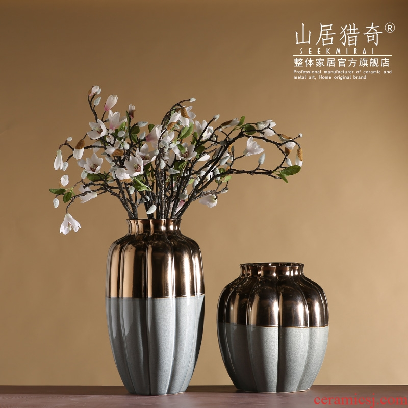 Large ceramic vase furnishing articles household act the role ofing is tasted modern Chinese flower arranging flowers sitting room pumpkin stripe pottery vase