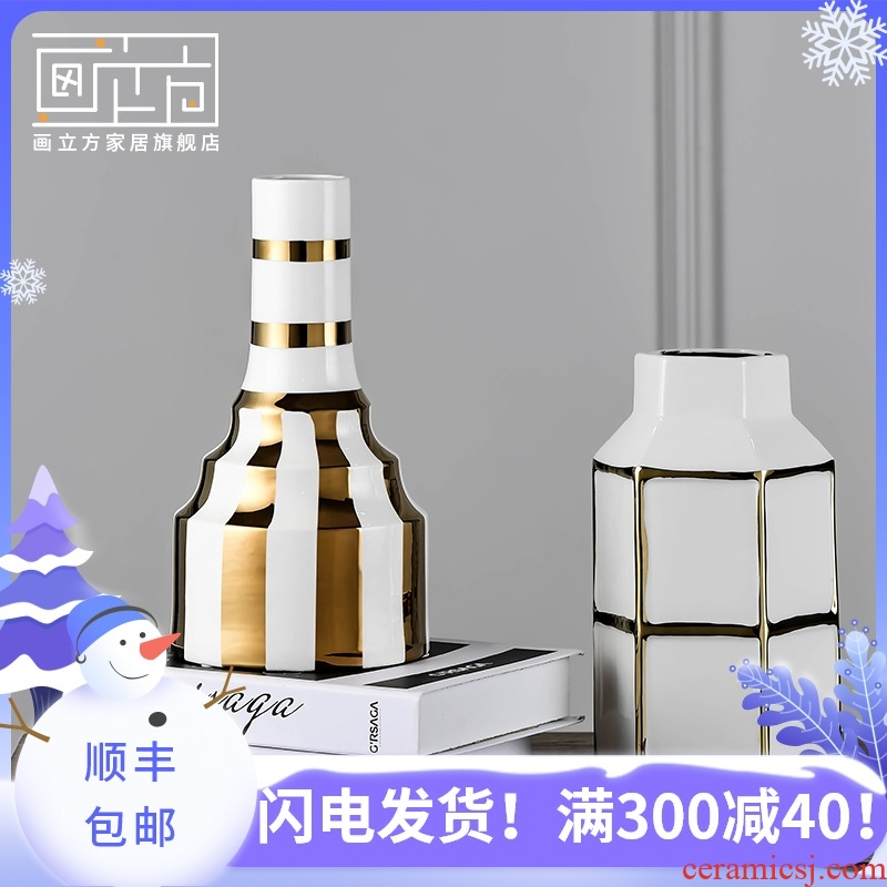 Furnishing articles cubic I and contracted example room ceramic vase Nordic sitting room dried flowers, flower arrangement, household decorations