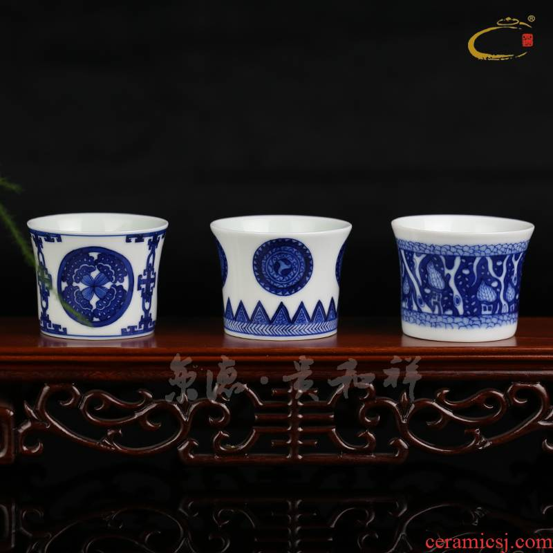 Jing DE and auspicious Jing DE collection jingdezhen up with pure manual hand - made ceramic sample tea cup kung fu tea cups