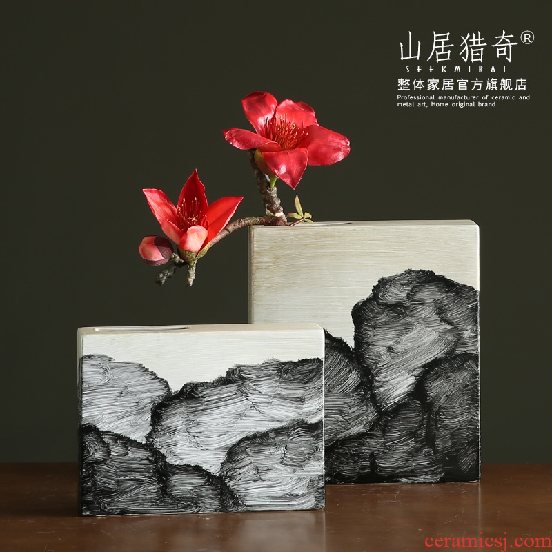 Creative ceramic hand - made ink vase sitting room dry flower, flower implement Chinese zen flower home furnishing articles