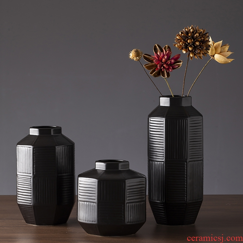 Jingdezhen ceramic vase Nordic modern minimalist art zen retro black dry flower vases, sitting room furnishing articles