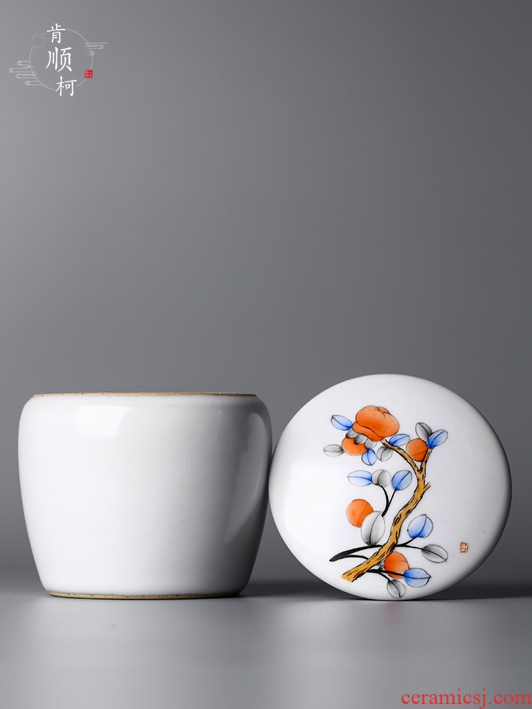 Jingdezhen persimmon persimmon ruyi put your up hand - made fine ceramic with cover household puer tea caddy fixings receive a case
