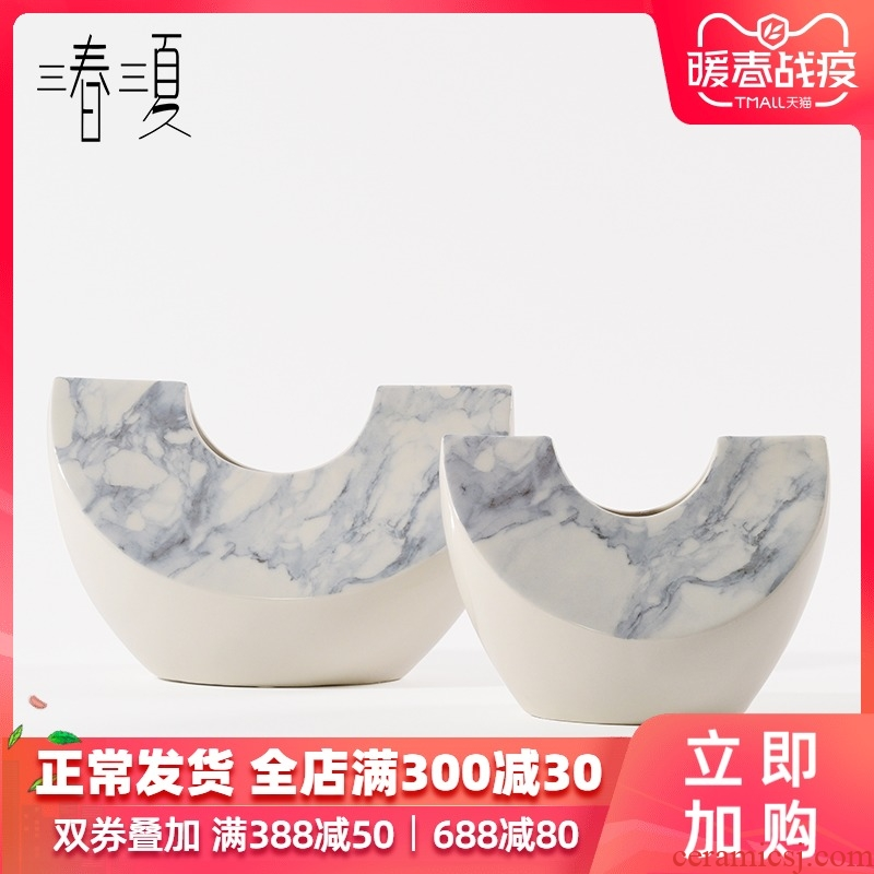 Postmodern contracted sitting room marble Nordic irregular ceramic vases, table creative furnishing articles soft decoration