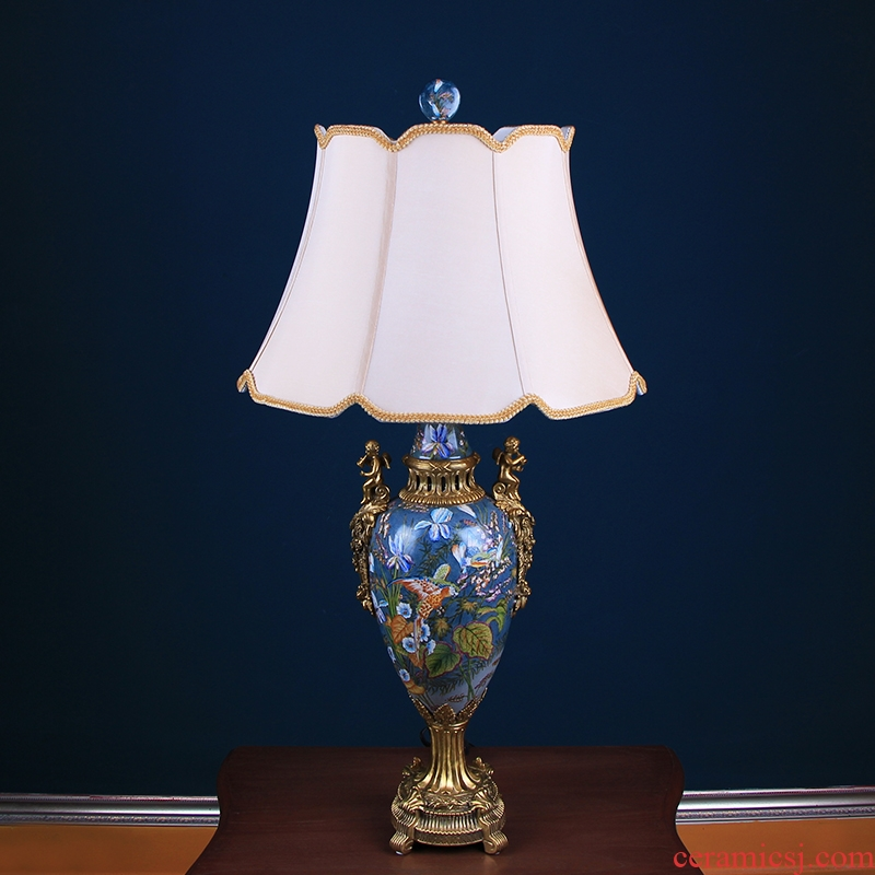 European classical chandeliers hand - made ceramic of bedroom the head of a bed with soft outfit copper household act the role ofing is tasted, the sitting room desk lamp furnishing articles