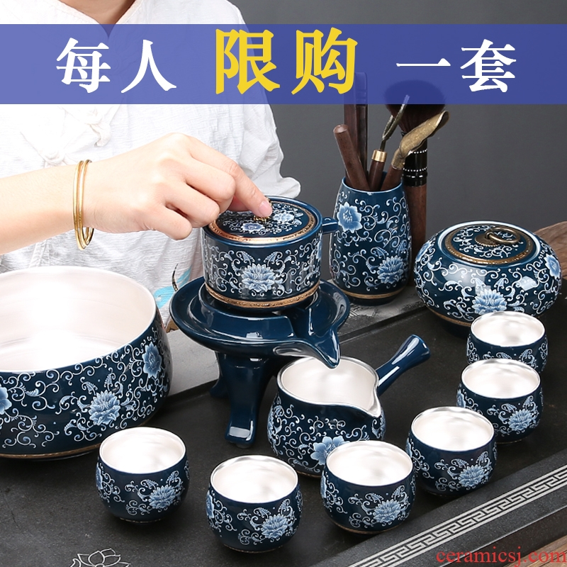 China Qian household contracted blue and white porcelain tea sets the ideas of a complete set of kung fu tea set ceramic teapot is for lazy people