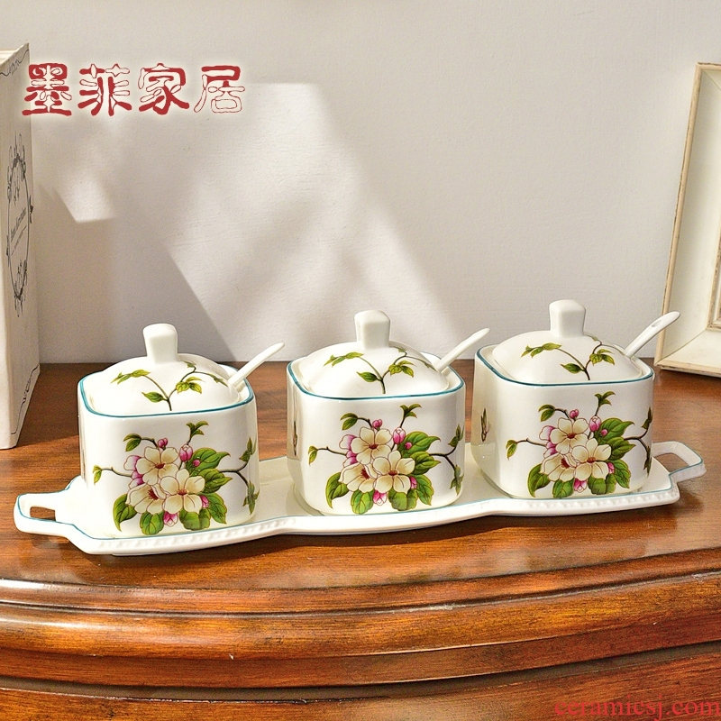 American ceramic seasoning bottles four new Chinese style dining - room kitchen condiment box seasoning box furnishing articles household pot