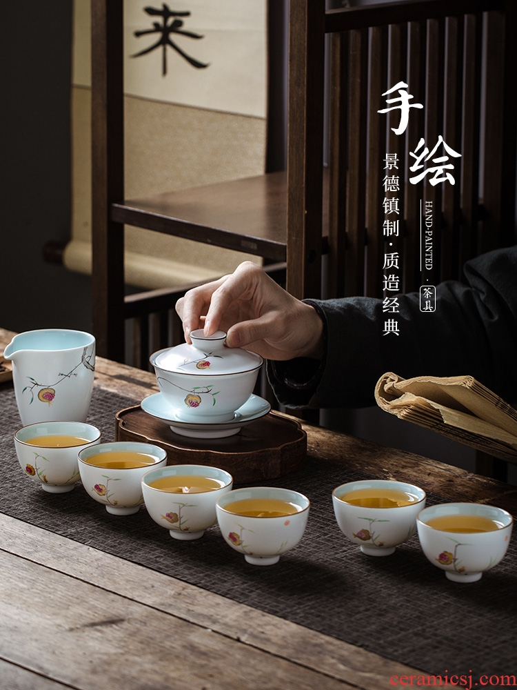 Jingdezhen hand - made kung fu tea set suit household ceramics tureen large master cup of 8 outfit of a complete set of tea cups