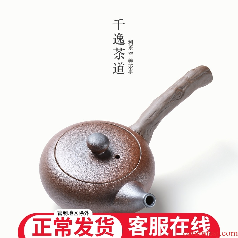 Coarse pottery imitation deadwood side put the pot of household cross handle catch a pot of tea exchanger with the ceramics filter single pot small kung fu tea set