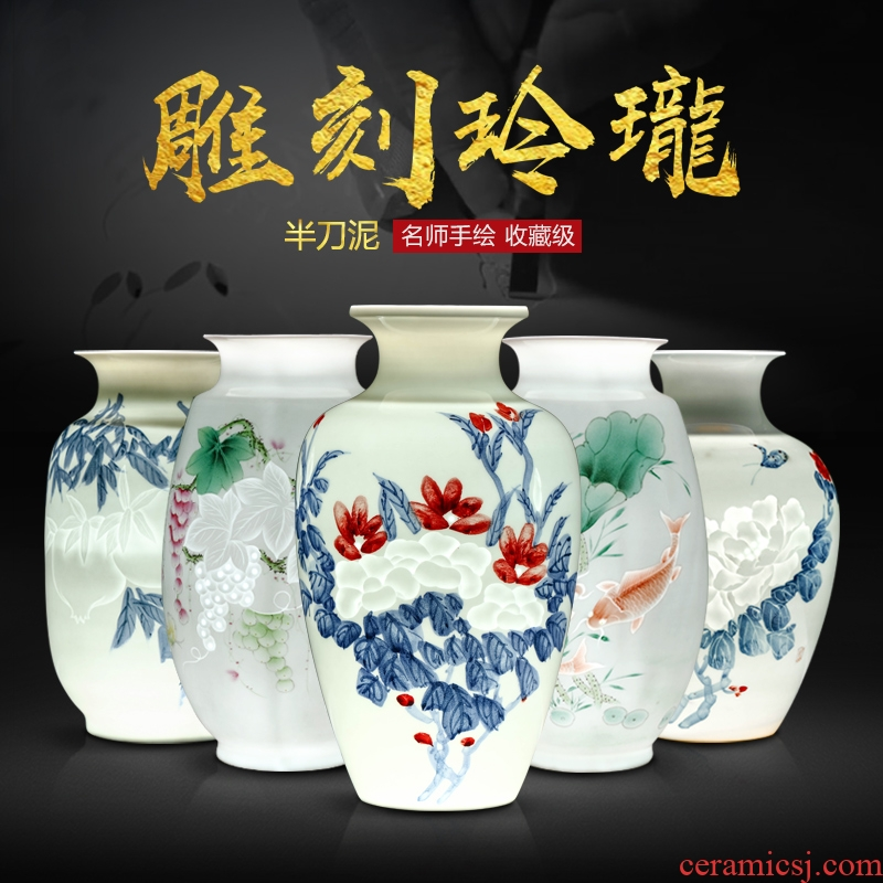 Hand - made master of jingdezhen ceramic vases, pervious to light thin foetus blue - and - white exquisite vase knife clay sitting room porch place