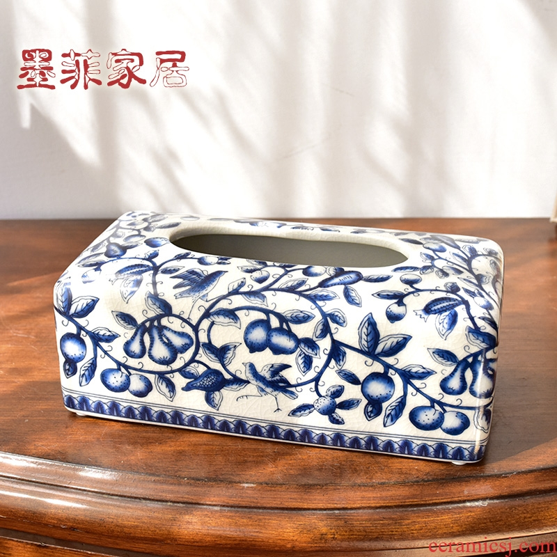 Tissue boxes of new Chinese style restoring ancient ways is the sitting room tea table to receive restaurant blue and white porcelain ceramic pump box household decorative furnishing articles