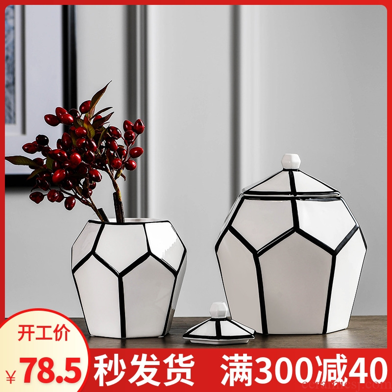 Nordic style is contracted and I household adornment ceramics storage tank sitting room place dry flower vase